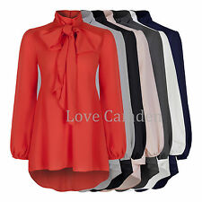 Chiffon Crepe Pussy Bow Tie Neck Dipped Hem Blouse Shirt Top 7 Colours New 8-20
