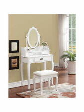 Lumberton Antique Style Dressing Table with Stool and Mirror - Black or White