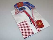 Mens AXXESS Wrinkle Free Cotton Shirt High Spread Collar 216-34 White Red Polka