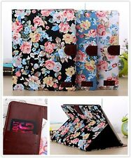 Card Wallet Pretty Flower Magnet Leather Case Cover For Apple Samsung Tab Tablet