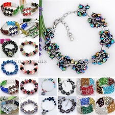 Elastic Stretchy Crystal Glass Spacer Faceted Beads Bracelet Womens Jewelry Gift