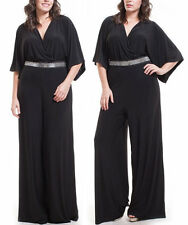 Plus Black V-Neck Kimono Sleeve Wide Leg Dress Jumpsuit Palazzo Pantsuit