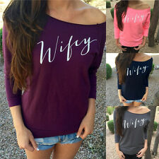 New Women Lady Sexy Long Sleeve Loose Casual Off Shoulder Top Tee T-Shirt Blouse