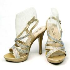 DE BLOSSOM BEYONZ-72X NUDE SPARKLE GLITTER RHINESTONE PROM/PARTY HEELS SHOES NEW