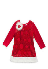New Girls Rare Editions Sequin Santa Dress Holiday SZ 12 18 24 MO 4 5 6 6X Red