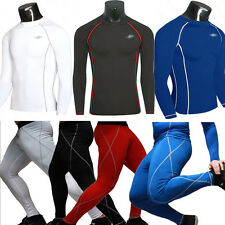 Mens Compression Base Layer Top Under Shirt Long Pants Thermal Tights Gym Wear