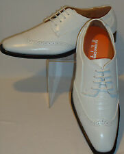 Mens Vintage White on White Wing Tip Look Dress Shoes Antonio Cerrelli 6608