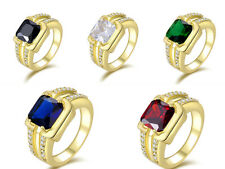 Fashion Mens Size 8,9,10,11,12 Sapphire Emerald 18K Gold Filled Engagement Rings