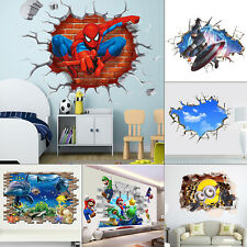 Break Through Vinyl Wall Decals 3D Removable Wall Stickers Kids Room Decor Mural