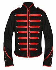 Handmade Men's Silver Black Military Marching Drummer Jacket coat Goth emo punk