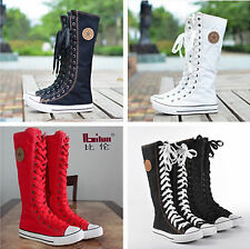 Womens Ladies Punk Gothic EMO Canvas High-top Knee Boots Lace Up Sneakers Shoes