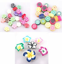 Wholesale 100pcs Polymer Fimo Clay Fruit/ lily/Flowers Spacer Beadsn Mixed