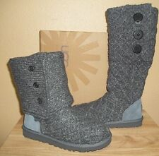 UGG Australia Lattice Cardy Women's Knit Sweater Boots Charcoal New NIB  US 7