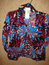 NEW CHICO'S TRAVELERS BLACK/BLUE PINK FLORAL PRINT OPEN FRONT JACKET L/S sz 2