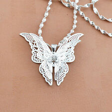 Women Lady Girls Silver Plated Butterfly Necklace Pendant Jewelry Gift HOT SALE