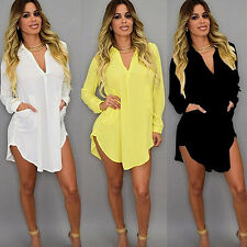 Womens Casual Sexy Long Sleeve V-Neck Oversize Loose T Shirt Dress Top Blouse