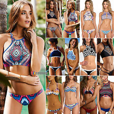 Womens High Neck Push-Up Bikini Set Swimwear Swimsuit Padded Bandage Beachwear