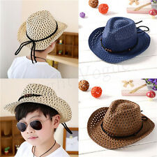 Kids Children Girls Boys Unisex Bead Holow Out Straw Cowboy Cap Sun Hat New 162