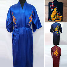 NEW Chinese Silk Satin Men's Sleep Kimono Robe Gown Bathrobe Women Dressing Gown