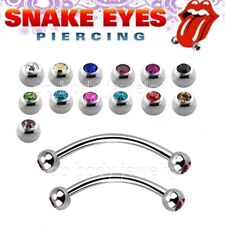"16g~9/16"", 5/8"" Double Gems 316L Steel Curved Barbell Tongue Snake-Eyes Piercing"