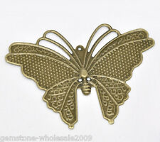 Wholesale Lots Bronze Tone Butterfly Wraps Connectors 6.9x5cm