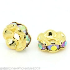 Wholesale Lots Spacer Beads Rondelles AB Color Rhinestone Gold Plated 8mm Dia.