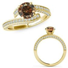 1 Carat Champagne Color Diamond Filigree By Pass Solitaire Ring 14K Yellow Gold