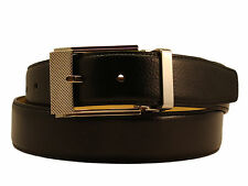 New Men's Marco Valentino Italy Dressy Belt Black Leather Silver Buckle