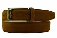 New Men's Marco Valentino Dressy Brown Suede Leather Belt Silver Gold Buckle