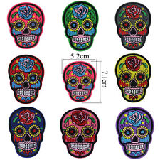 New Fashion DIY Flower Skull Head Embroidered Iron On Sew On Patch Applique Punk