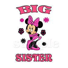 MINNIE MOUSE BIG SISTER IRON ON TRANSFER