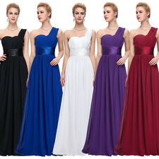 One Shoulder Long Chiffon Bridesmaid Prom Party Evening Cocktail Ball Gown Dress