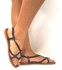 New Women's Summer Gladiator Strappy Flat Flip Flops Sandals Shoes  size: 5 - 11