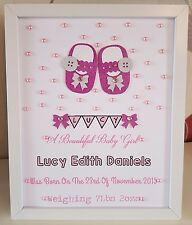 Personalised New Baby, Birth,Christening Girl Framed Handmade Gift Keepsake