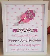Personalised New Baby, Birth,Christening Boy Girl Framed Handmade Gift Keepsake