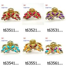 t635m09 5Colors Butterfly Fashion Rhinestone Hair Crab clamp Clip hairpin