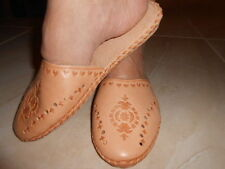 Womens Ladies Real Sheep Leather Traditional Tan Slippers Shoes Sandal Handmade