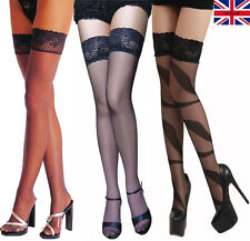 Womens Sexy Thigh High Stockings Sheer Lace Ladies Hold Ups Stay Ups Black
