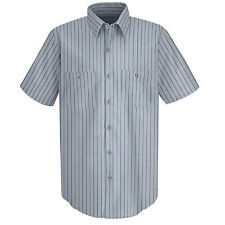RED KAP Mens Industrial Work Shirts Short Long Sleeve Solid Striped Various Szs