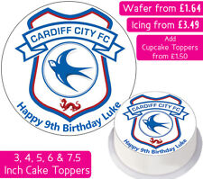CARDIFF CITY FOOTBALL TEAM EDIBLE WAFER & ICING PERSONALISED CAKE TOPPER CLUB FC