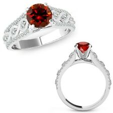 1 Carat Red Diamond Halo Wedding Fancy Infinity Bridal Ring Band 14K White Gold