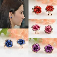 Hot Fashion Women Lady Girls Elegant Crystal Rhinestone Flower Ear Stud Earrings