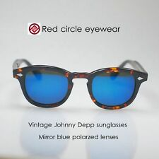 Retro Vintage Johnny Depp sunglasses tortoise mirror blue polarized lens suniess