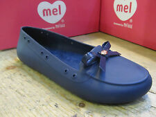 Mel by Melissa Moon Bow Navy Blue Ladies Flat Ballerina Moccasin Bow Shoe