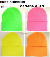 Unisex Beanie Neon Color Warm Plain Acrylic Knit Ski Beanie Skull Hat 4 Colors