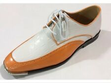 Men's Pumpkin/White Stand Out Dress Shoes Metal Silvertip Expressions Oxford New