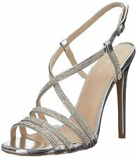 New Silver High Heel Strappy Sandal Rhinestone Bridal Prom Wedding Formal Shoes