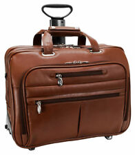 McKlein Ohare 17 Leather Fly Through Zipper Detachable Wheeled Laptop Case. 8653