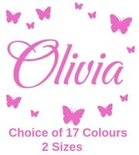 Personalised Name Wall Art Butterflies Vinyl Sticker Girls Room Bedroom Any Name