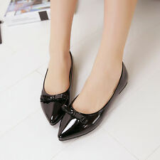 Fashion Women Flat Shoes Patent Leather Ballet Flats Low Heel Pointed Toe Shoes